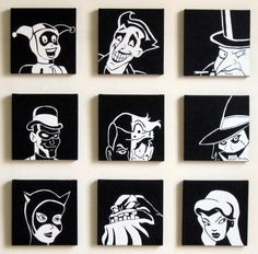 The paintings, rendered in black and white acrylic paint on 10″x10″ canvas, feature nine of the most famous Batman villains: Harley Quinn, the Joker, the Penguin, the Riddler, Two-Face, the Scarecrow, Catwoman, Clayface, and Poison Ivy.