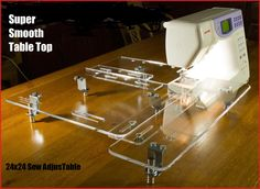 This little adjustable SewMate table can work on all of your sewing machines! Recommended by Bonnie Hunter of Quiltville blog and fame.