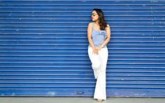 nautical trend white frayed jeans and navy blue stripe top