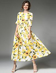 64d171d41909 Women s Floral Party   Daily   Going out Vintage   Street chic    Sophisticated A Line Dress - Patchwork All Seasons Yellow L XL XXL