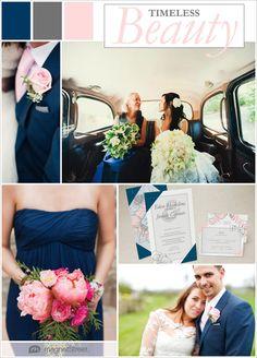 Sleek, Sexy Navy and Pink Wedding + Free Wedding Invitation Sample!