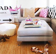 I would love a tufted ottoman/coffee table. More child friendly than any other tables out there.