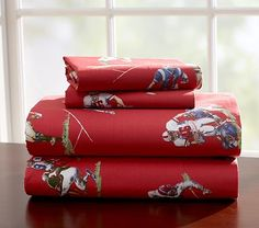 I love the Red Sports Sheeting on potterybarnkids.com