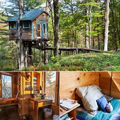 Perched on a cluster of maple trees, this forest tree-house in Lincoln, Vermont, offers views of Mount Abraham and the sweeping forest below.