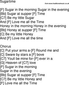 Old time song lyrics with chords for Sugartime F