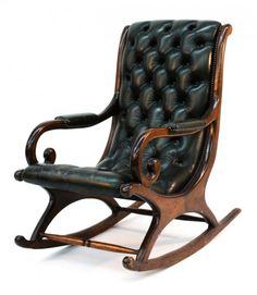 Gut gemocht CHESTERFIELD ROCKING CHAIR green leather | Nursery | Pinterest  AU48