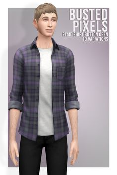 Plaid Shirt Button Open at Busted Pixels via Sims 4 Updates