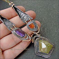 Strukova Elena - авторские украшения - Ожерелье с аметистом и гранатами