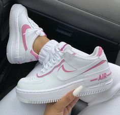Find the best selection of Nike Air Force 1 Shadow white and pink sneakers. Shop today with free delivery and returns (Ts&Cs apply) with ASOS! Nike Shoes Air Force, Nike Air Force Ones, Nike Force 1, Jordan Shoes Girls, Girls Shoes, Shoes Women, Sneakers Fashion Outfits, Shoes Sneakers, Nike Fashion
