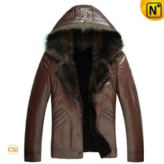Mens Fashion Hooded Fur Shearling Leather Jacket CW878576 $1445.89 - www.cwmalls.com