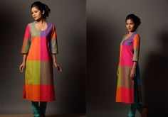 Kurtis for women - Mazhavillu Kaithari Kurta by Seamstress PC 16191 - Main