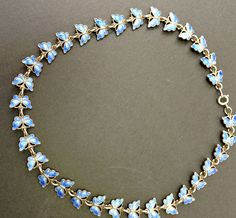 Vintage Blue Enamel Butterflies Necklace Sterling by Topcatvintage, $245.00