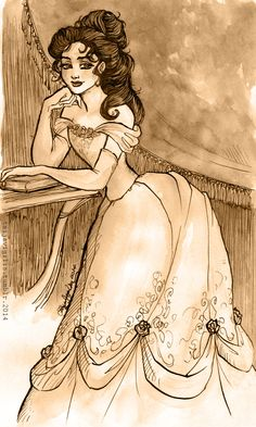 "Taija's Drawing Board, ""Gibson girl""-inspired Belle, watercolours and ink..."