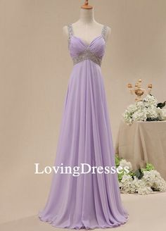 Strap Sweetheart Lavender Long Chiffon Dress Prom by LovingDresses