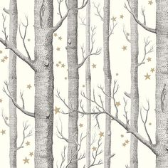 Cole and Son (Wallpapers) Ltd Cole & Son Tapeten Woods & Stars: Whimsical Dark Green Wallpaper, Cole And Son Wallpaper, Cream Wallpaper, Forest Wallpaper, Star Wallpaper, Wood Wallpaper, Kids Wallpaper, Wallpaper Online, Original Wallpaper