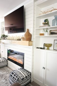 Built In Around Fireplace, Fireplace Tv Wall, Basement Fireplace, Build A Fireplace, Fireplace Built Ins, Shiplap Fireplace, Fireplace Surrounds, Fireplace Design, Fireplace Ideas