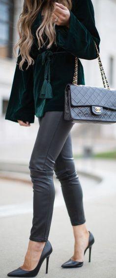 #fall #outfits / green velvet + gray
