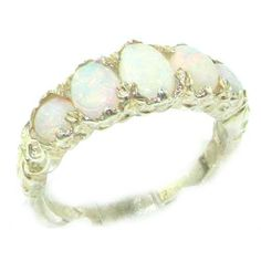 Sterling Silver Natural Opal English Victorian Ring