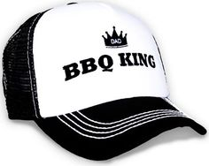 Cool trucker hat for fathers day with the saying BBQ King. Perfect gift for the best griller in the house! o/s fits most. Adjustable band in back.