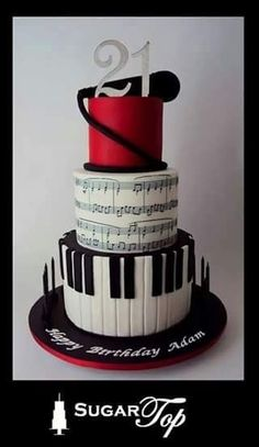 This will probably be inappropriate for my wedding theme. but i am obsessed with this cake design! Fancy Cakes, Cute Cakes, Pretty Cakes, Music Themed Cakes, Music Cakes, Music Birthday Cakes, Theme Cakes, Happy Birthday, Unique Cakes