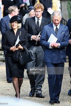 Prince Charles, Prince of Wales (R) Camilla, Duchess of Cornwall and Prince Harry (C) attend a thanksgiving service for Gerald Ward, godfather of Prince Harry, at St Mary's Church, Chiltern Foliat on October 3, 2008 near Hungerford, England. A close friend of Prince Charles, Gerald Ward, aged 70, died last week whilst playing golf at Sunningdale.