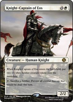 Knight-Captain of Eos Game Card Design, Fun Card Games, Mtg Art, Magic The Gathering Cards, White Magic, Magic Cards, Wizards Of The Coast, Alters, Altered Art