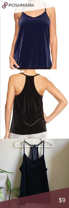 BRAND NEW Gap Navy Velvet Racer Tank Brand new with attached tags. Soft and stretchy. Available in sizes shown. Also available in red. Retail $29.99. 📦Bundle and save💰5%! ❌Price is firm unless bundled❌ GAP Tops Tank Tops