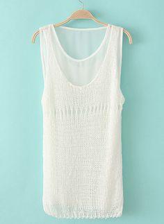 White Sleeveless Sheer Knit Jumper with Chiffon Vest US$23.61
