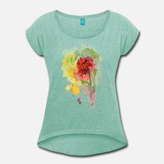 Schöne handgemalte Blume Frauen Premium T-Shirt   Spreadshirt Sport T-shirts, T Shirts For Women, Illustration, Painting, Color, Tops, Fashion, Girl Dancing, Yellow Flowers