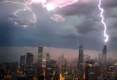 Chicago skyline lights up  Lightning strikes the Willis Tower (formerly the Sears Tower) on June 12, in downtown Chicago. A massive storm system with heavy rain, high winds, hail and possible tornadoes was expected to move into Illinois and much of the central part of the Midwest later in the week.