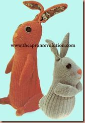 Free pattern & instructions for sock bunnies from The Apron Revolution