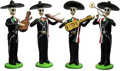 Celebrate Day of the Dead (Dia de Los Muertos) with these festive clay figurines by artisan Diego Huerta Bonilla.  Each collectible figurine is hand-painted in bold acrylic paints and depicts a whimsical scene of the afterlife. Wonderful as novelty gifts, they're also perfect for Halloween decorating!