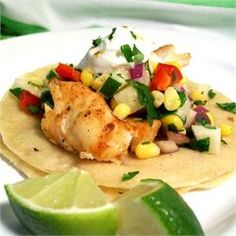 Fiery Fish Tacos with Crunchy Corn Salsa - Allrecipes.com.     can substitute green apples for jicima