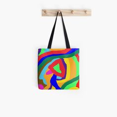 Tote bag designed by Binta Darboe. #Pattern #Colorful #Floral #Vibrant #Vivid #Fun #Flower #Rose #Statement #Happy #Abstract #Playful #Statement #Bold Cotton Tote Bags, Reusable Tote Bags, Zipper Pouch, Pouches, Color Patterns, Finding Yourself, Vibrant, Colorful, Abstract