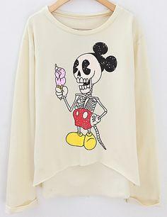 Sudadera Cráneo de Mickey manga larga-Beige EUR€19.15