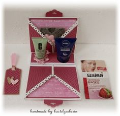 bastelzauberin: Beautycase zum Valentinstag with link to tutorial Diy And Crafts, Paper Crafts, Envelope Punch Board, Xmas Presents, Craft Box, Stamping Up, Creative Gifts, Little Gifts, Gift Wrapping
