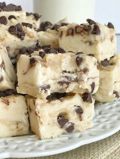 A sweet & creamy fudge that tastes exactly like chocolate chip cookie dough! No eggs so it's perfectly safe to eat. If you're looking for an extra sweet treat this Holiday and Christmas season then you have to try this chocolate chip cookie dough fudge!