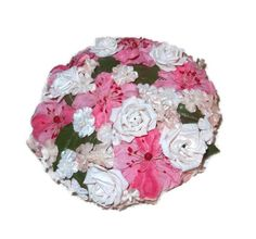 Pink Flower Hat with Velvet and Silk Flowers