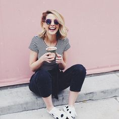 zoella Matcha latte in monochrome Source by outfits Zoella Outfits, Zoella Hair, Zoe Sugg, Layering Outfits, Everyday Outfits, Girl Boss, Chic, Matcha, Monochrome