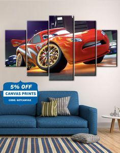 Cars poster, Cars canvas, Lightning Mcqueen art, Kids Room decor, Disney Cars canvas, Cars 5 Panel , Disney The Cars wall art, Canvas Art