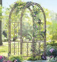 Burnished Bronze Finished Iron Montebello Garden Arbor With Gate