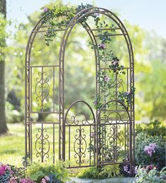 Burnished Bronze Finished Iron Montebello Garden Arbor from Plow & Hearth