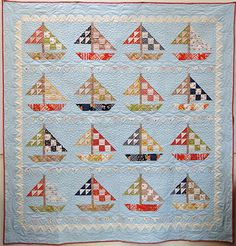 Sail from Fig Tree Quilts---purchase at Thimble Creek. Love boats on quilts! Nautical Quilt, Tree Quilt, Boy Quilts, Fig Tree, Quilting Designs, Quilting Ideas, Quilt Making, Pin Cushions, Quilt Blocks