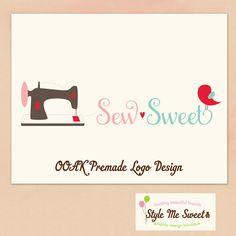 Premade Hand Drawn OOAK Logo  Sewing Machine by stylemesweetdesign, $75.00