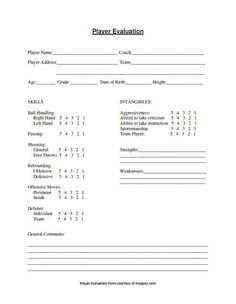 Image Result For Basketball Player Evaluation Template