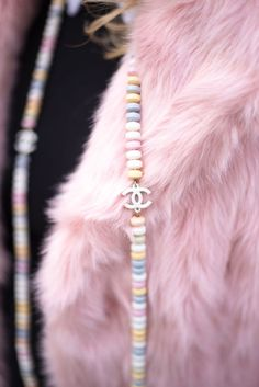 chanel candy necklace Chanel Necklace, Fashion Necklace, Fashion Jewelry, Statement Jewelry, Boho Jewelry, Jewellery, Pink Fur Coat, Candy Necklaces, Beauty Advice