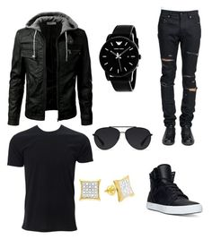 """""""All Black"""" by royalty3273 on Polyvore featuring Yves Saint Laurent, Supra, Giorgio Armani, Bally, men's fashion and menswear"""