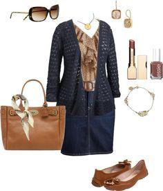 """Plus Size Demin Skirt, Ruffle Bouse, Cardigan"" by alexawebb on Polyvore"