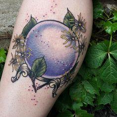 Crystal ball & witch hazel for last week 🔮 Time Tattoos, Leg Tattoos, Body Art Tattoos, Gypsy Tattoos, Arabic Tattoos, Irezumi Tattoos, Crystal Ball Tattoo, Dragon Sleeve Tattoos, Japanese Dragon Tattoos