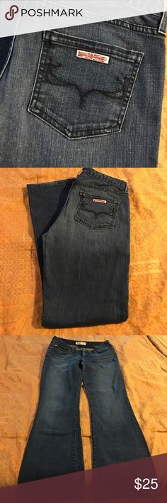 Hudson Jeans size 32 would fit a size 31 better GUC Hudson jeans size 32 waist measurement 16 inseam 32. Not much stretch 98% Cotten 2% spandex would fit a size 31 better Hudson Jeans Jeans
